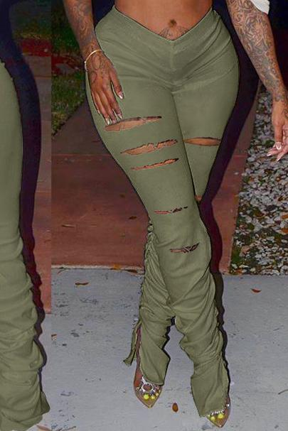 Distressed Solid Color Slit Ruched Pants