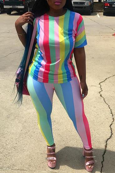 Rainbow Stripe Short Sleeve Casual Two Piece Sets