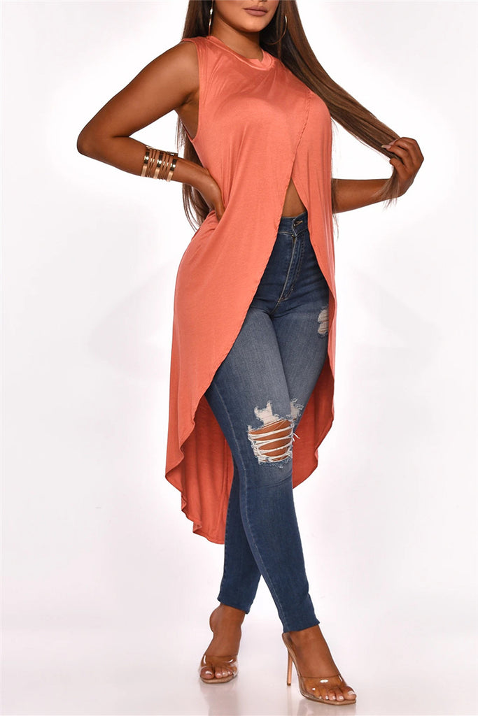 Solid Color Sleeveless Asymmetric Top