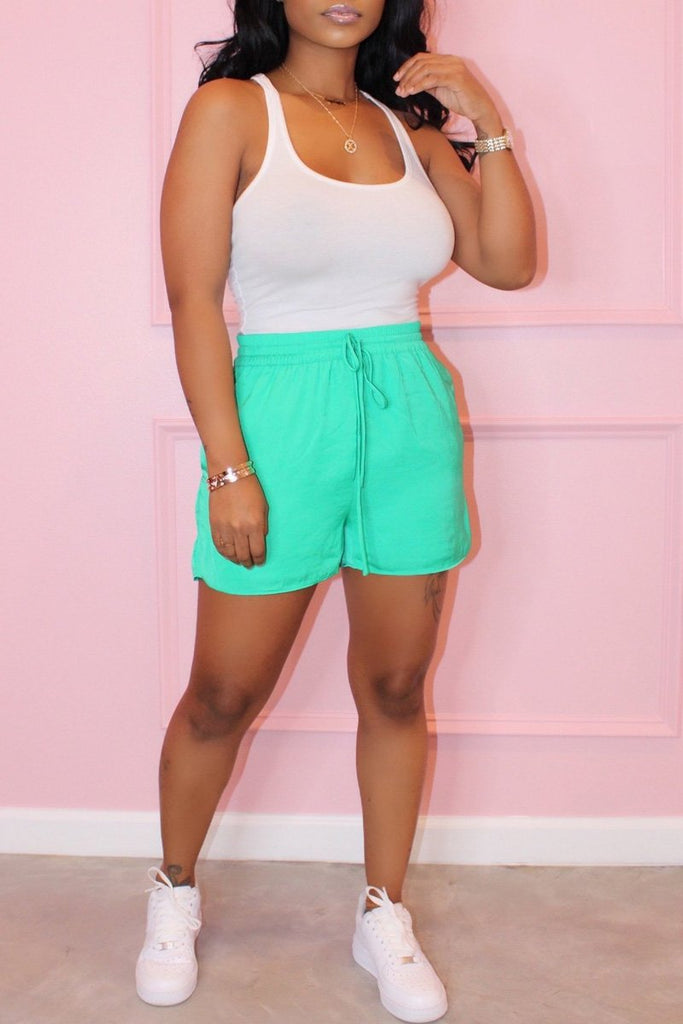 Scoop Neck Drawstring Sleeveless Top & Shorts