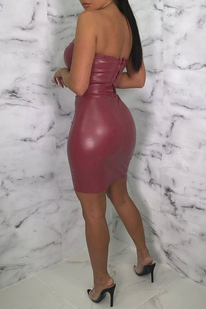 Solid Color PU Strapless Mini Tub Dress