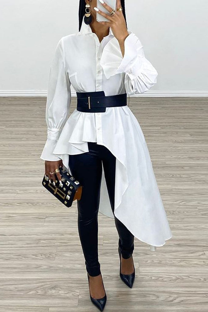 Asymmetric Hem Flare Sleeve Shirt Without Belt