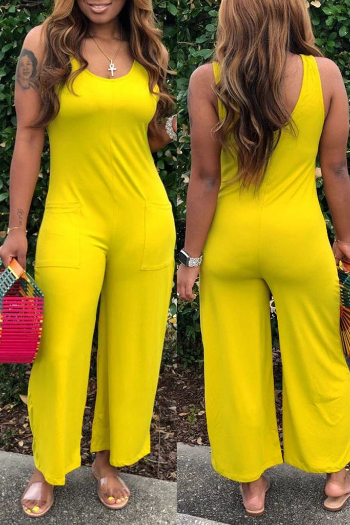 Scoop Neck Sleeveless Solid Plus Size Jumpsuit
