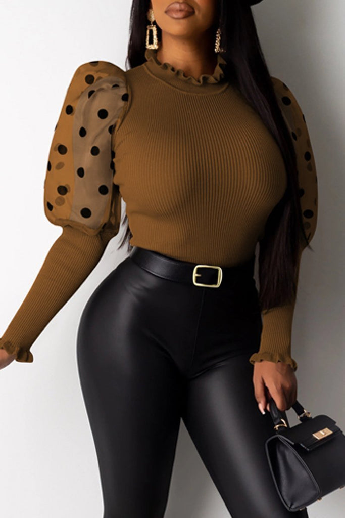 Polka Dot See-through Puff Sleeve Top