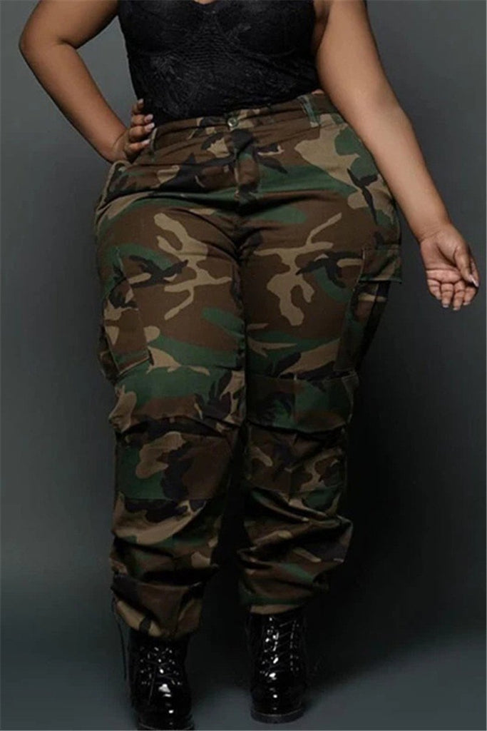 Camouflage Print Plus Size Casual Pants