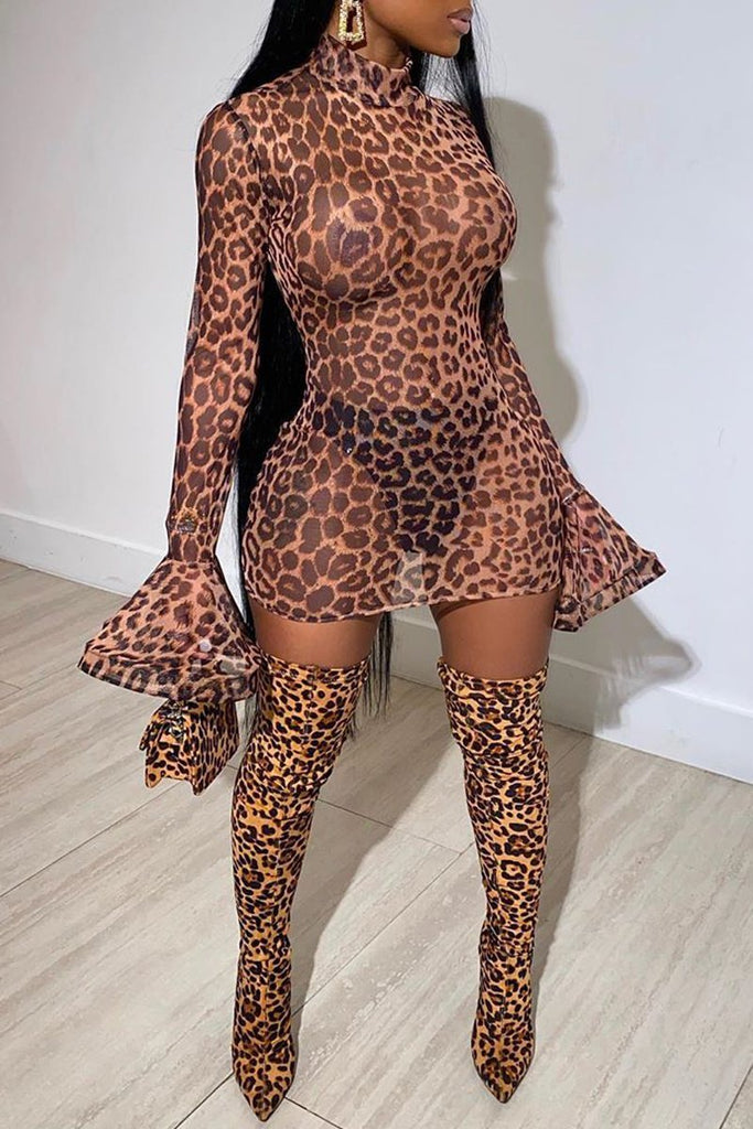 See-through Flare Sleeve Leopard Print Dress