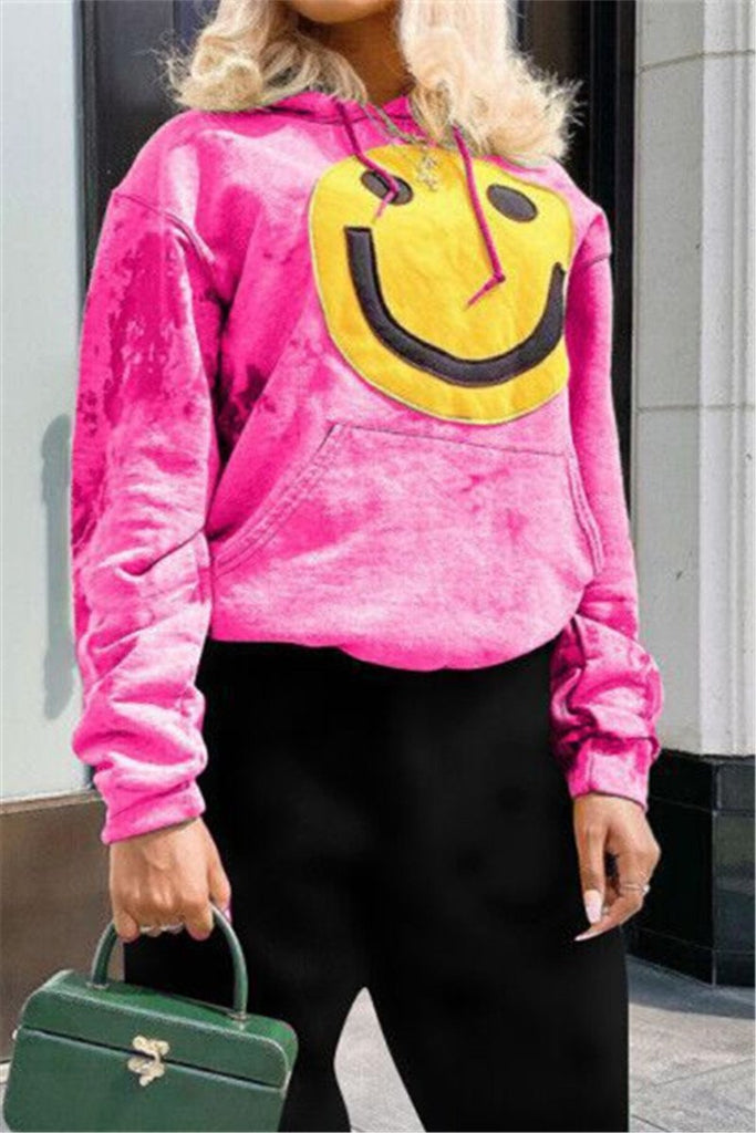Smile Print Tie Dye Hooded Sweatshirt