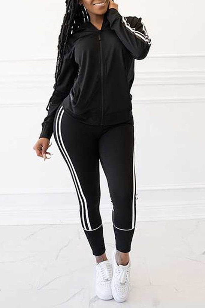 Side Striped Zipper Up Two Piece Sets