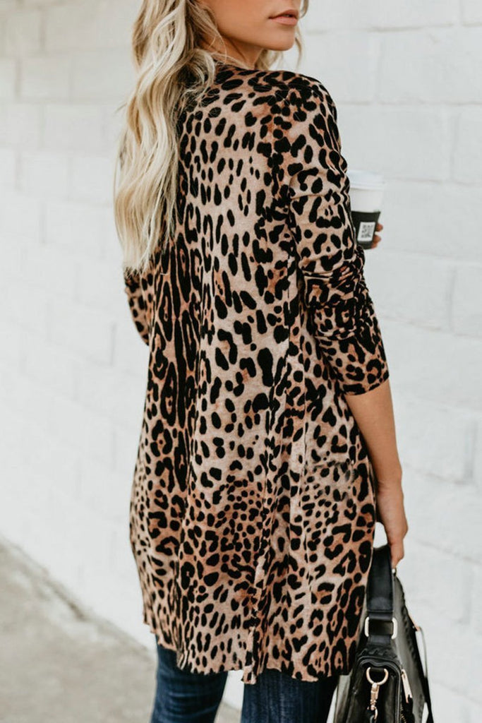 Animal Print Long Sleeve Button Casual Cardigan - THEBABESTYLE