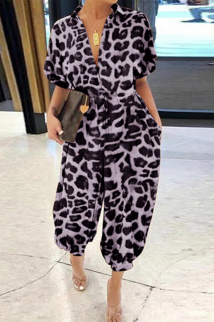 Turndown Collar Leopard Print Lace-up Jumpsuit