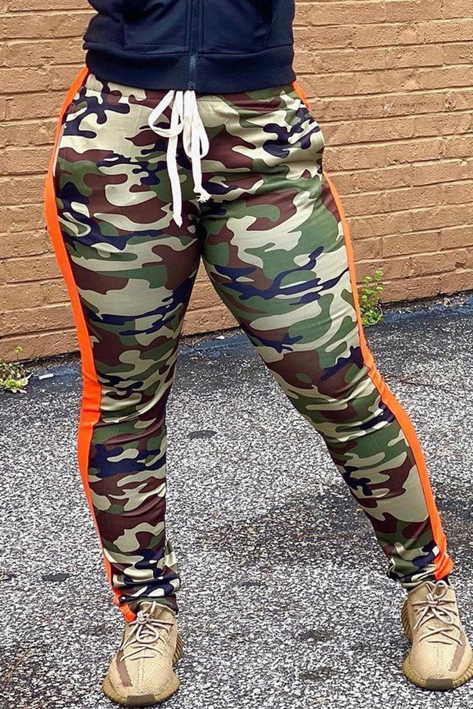 Camouflage Print Drawstring Side Striped Pants