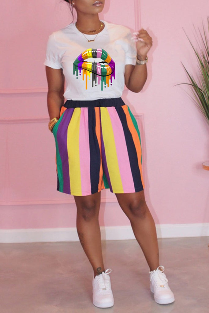 Rainbow Striped Lip Print Short Sleeve Top & Shorts