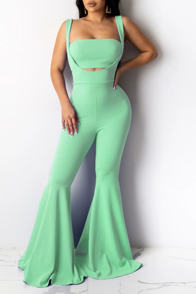 Spaghetti Straps Open Back Flare Two Piece Sets