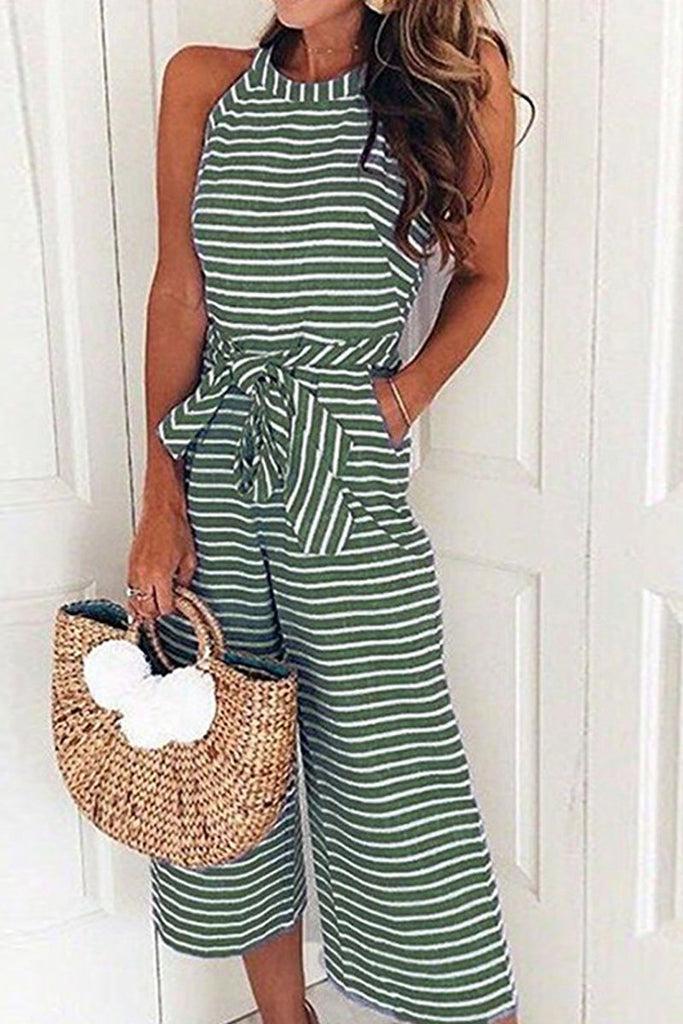 Stripe Print Sleeveless Lace-up Jumpsuit