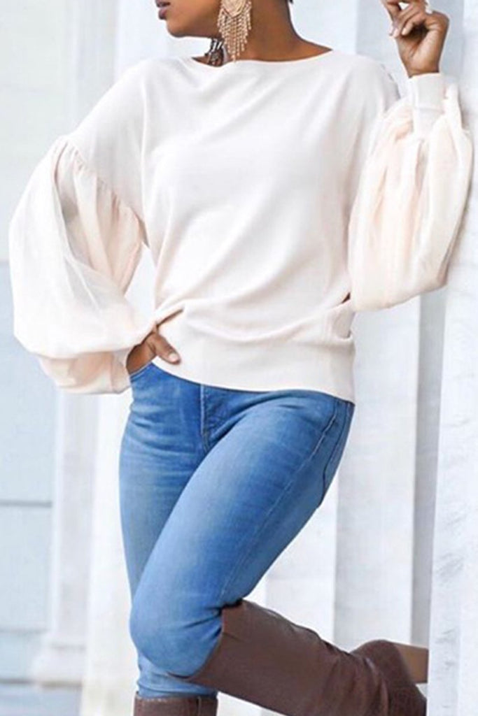 Lantern Sleeve Solid Color Casual Blouse