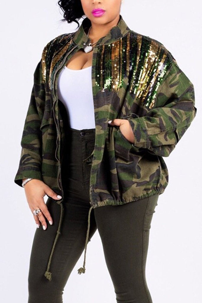 Sequin Camouflage Print Pocket Belted Jacket