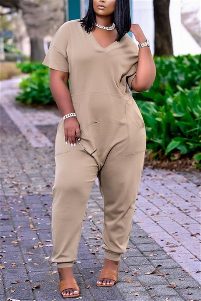 Plus Size Solid Color Pocket Casual Jumpsuit
