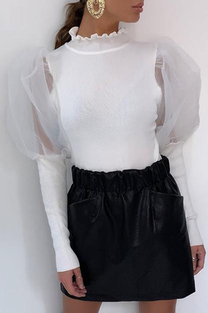 Puff Sleeve See-Through Solid Color Top