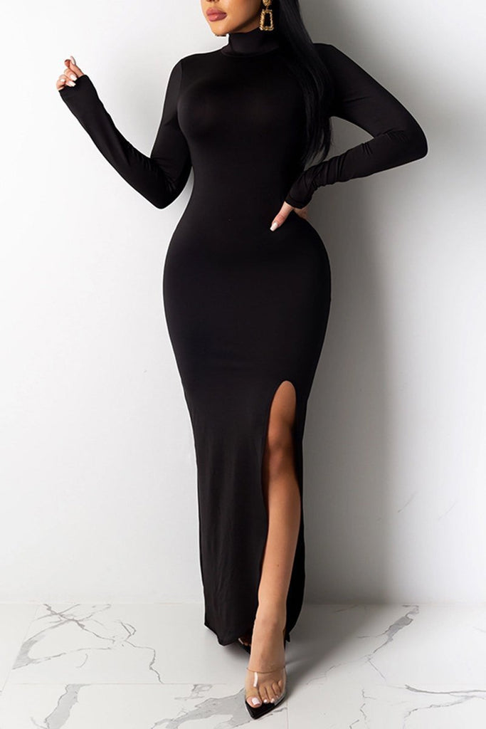 Side Slit Solid Color Long Sleeve Maxi Dress