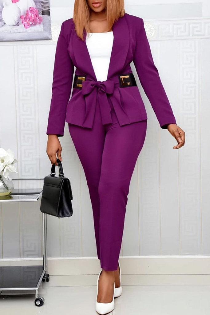 Bowknot Tie Up Solid Color OL Two Piece Outfits
