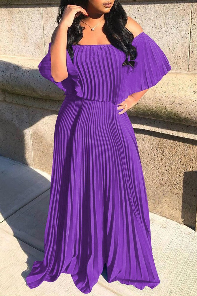 Ruffle Overlay Solid Color Pleated Maxi Dress