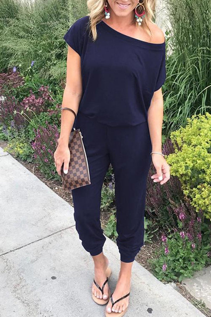Plus Size Skew Neck Short Sleeve Jumpsuit