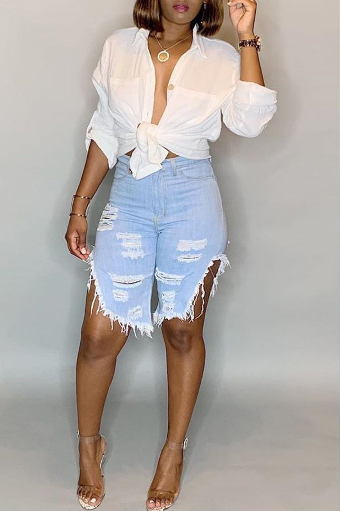 Denim Hole Distressed High Waist Shorts