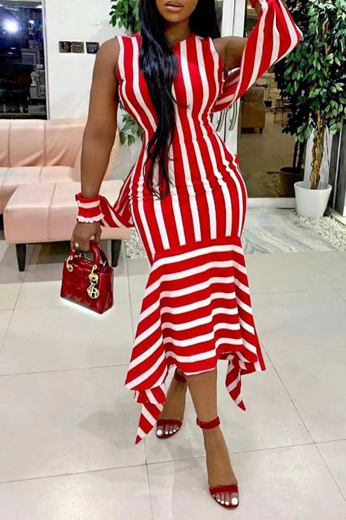 Irregular Hem Slit Sleeve Striped Maxi Dress