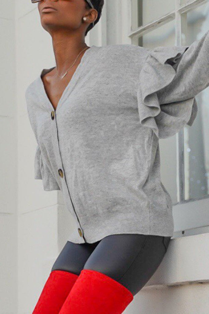 V-Neck Ruffled Sleeve Button Sweater