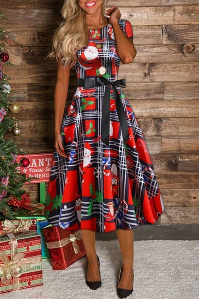 Christmas Print Lace-up Short Sleeve Midi Dress
