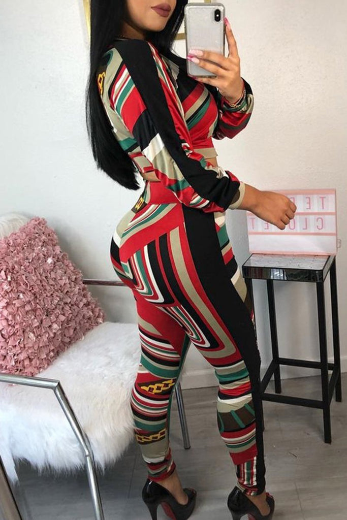 Colorful Printed High Waist Zipper Two Piece Sets