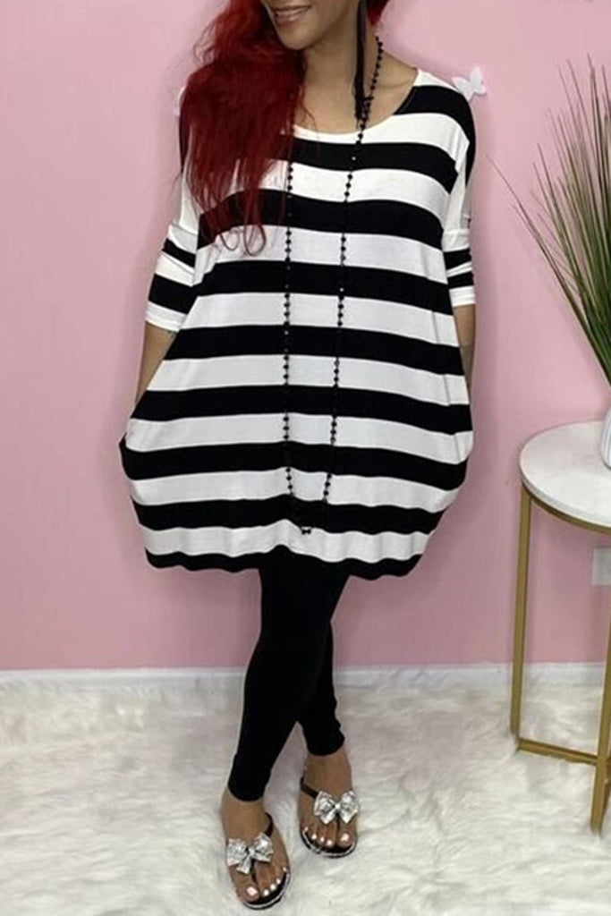 Plus Size Stripe Print Digital Print Dress