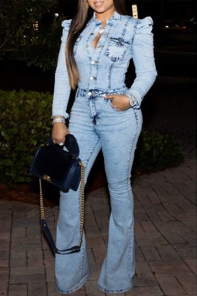 Plus Size Denim Turndown Collar Flared Jumpsuit