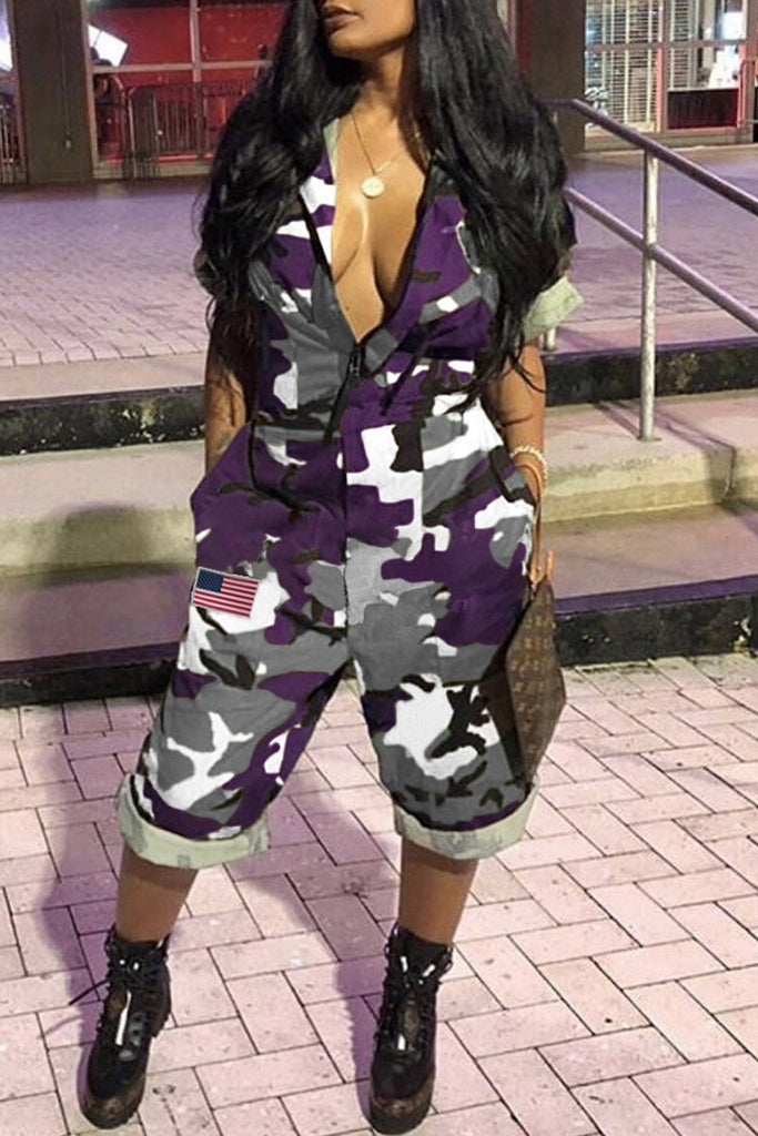 Camouflage Printed Turndown Collar Jumpsuit