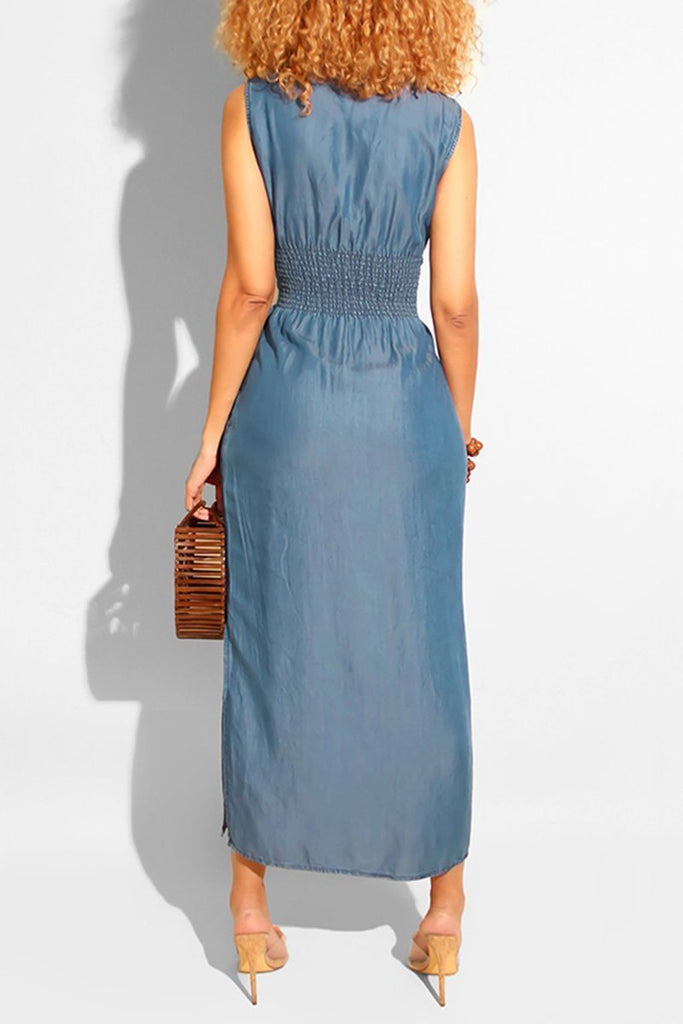 Denim Waisted Side Slit Sleeveless Midi Dress