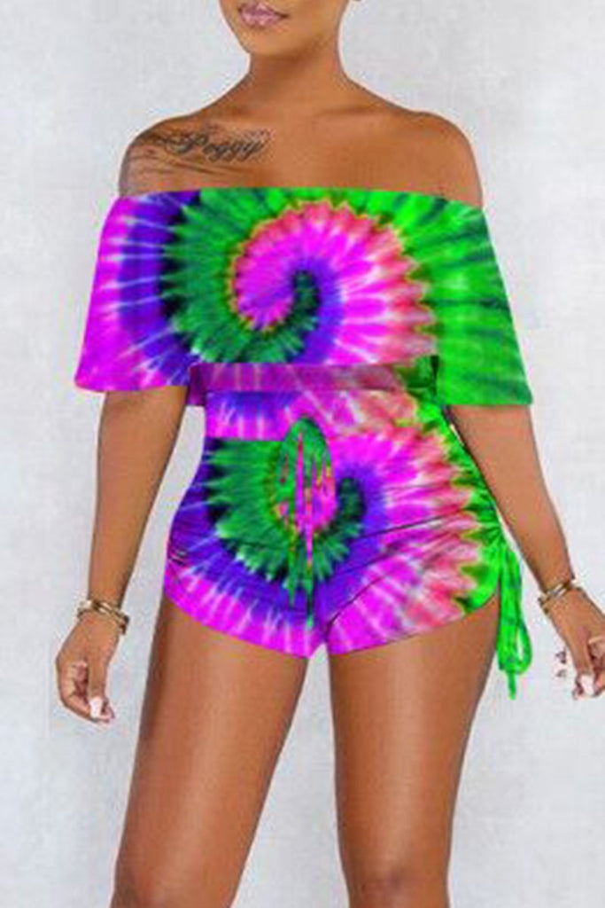 Plus Size Tie Dye Off The Shoulder Bandage Romper