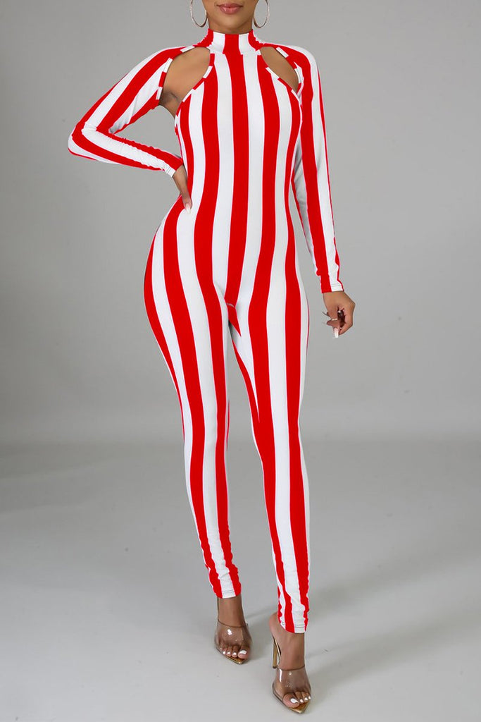 Stripe Print Hollow Out High Neck Jumpsuit