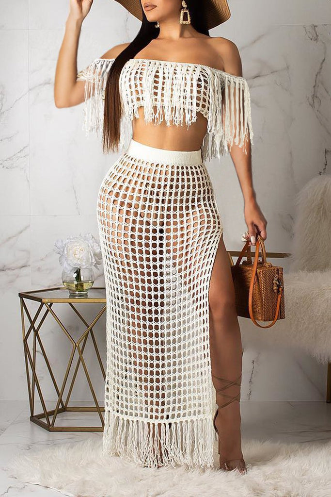 Knitted Off The Shoulder High Slit Two Piece Sets