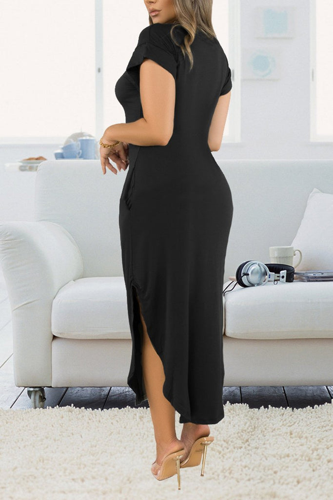 Solid Color Side Slit Pocket Dress