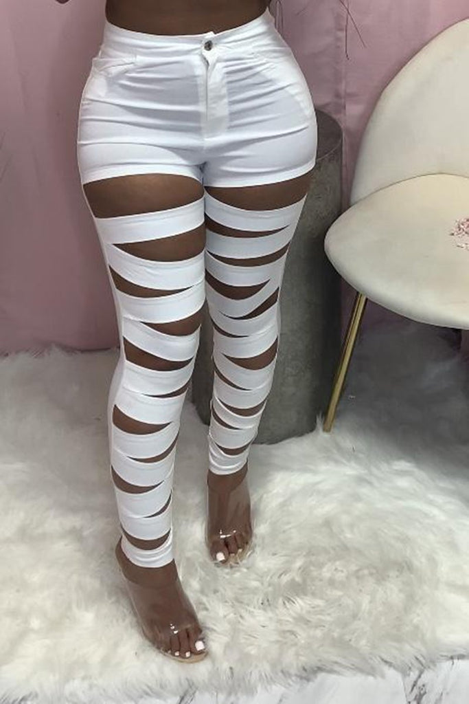 Bandage Pierced Casual Solid Color Pants