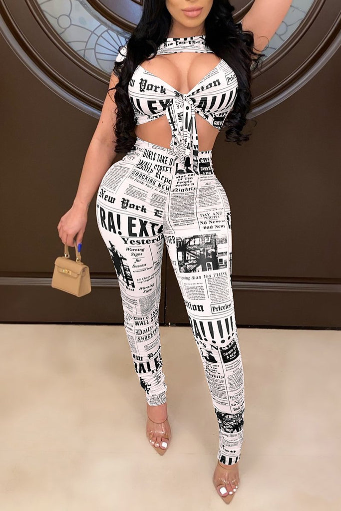 Pierced Newspaper Print Two Piece Sets