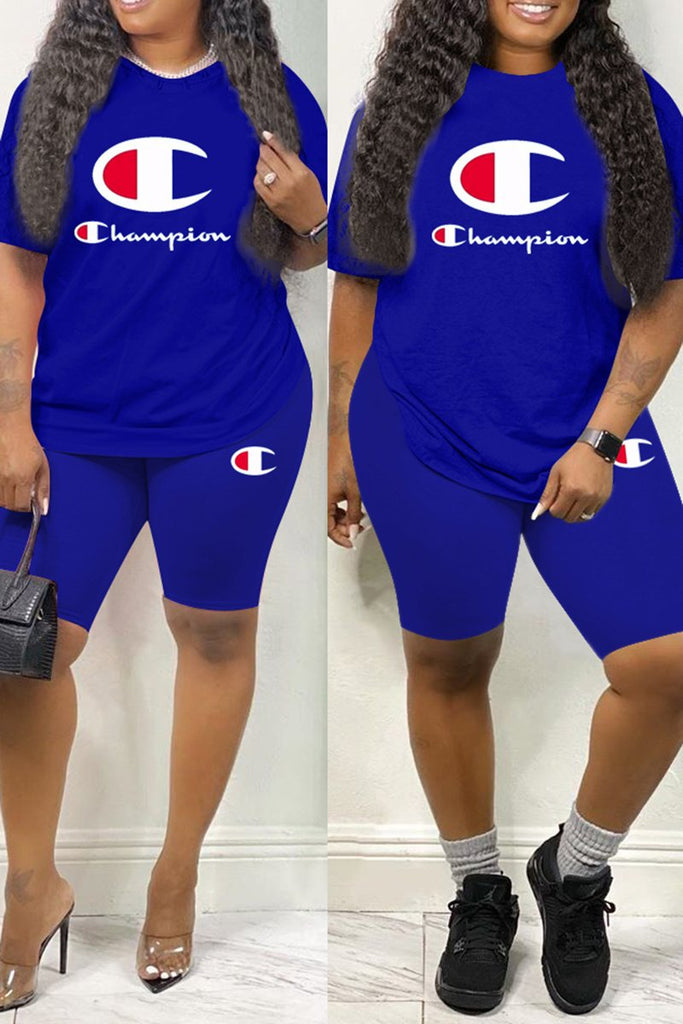 Solid Color Letter Plus Size Two Piece Sets