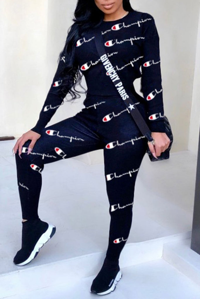 Letter Digital Print Long Sleeve Round Neck Two Piece Sets