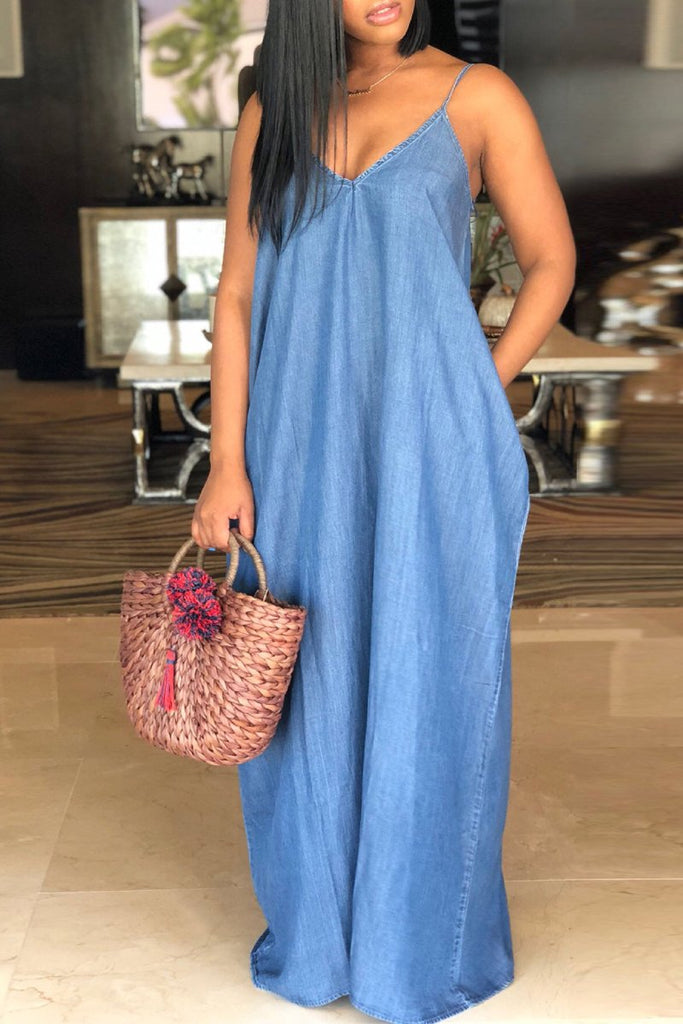 Plus Size Denim Spaghetti Straps Maxi Dress