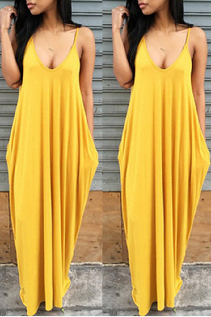 Pocket Solid Color Sleeveless Dress