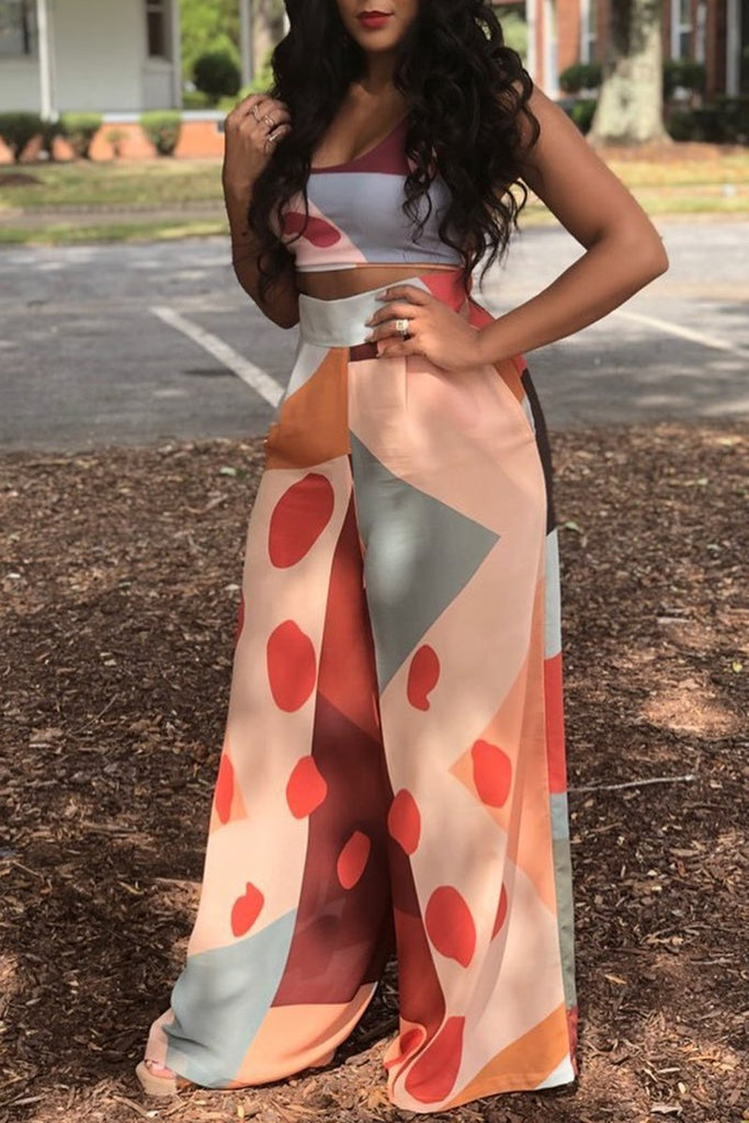 Digital Print Strapless Wide Leg Two Piece Sets