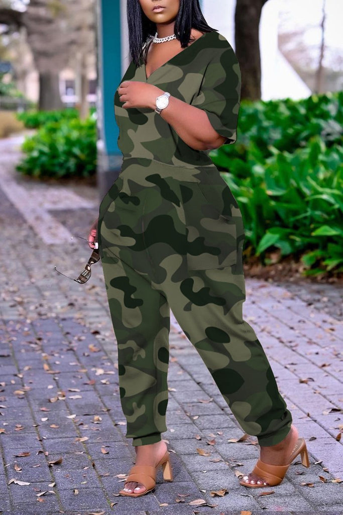 Camouflage Plus Size V-Neck Pocket Jumpsuit