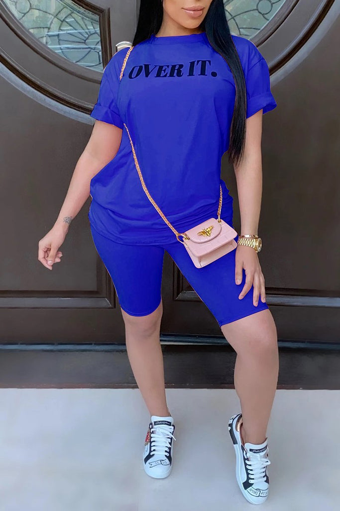 Letter Short Sleeve Solid Color Top & Shorts