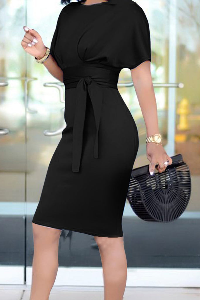 Bandage Solid Color Short Sleeve Dress - THEBABESTYLE