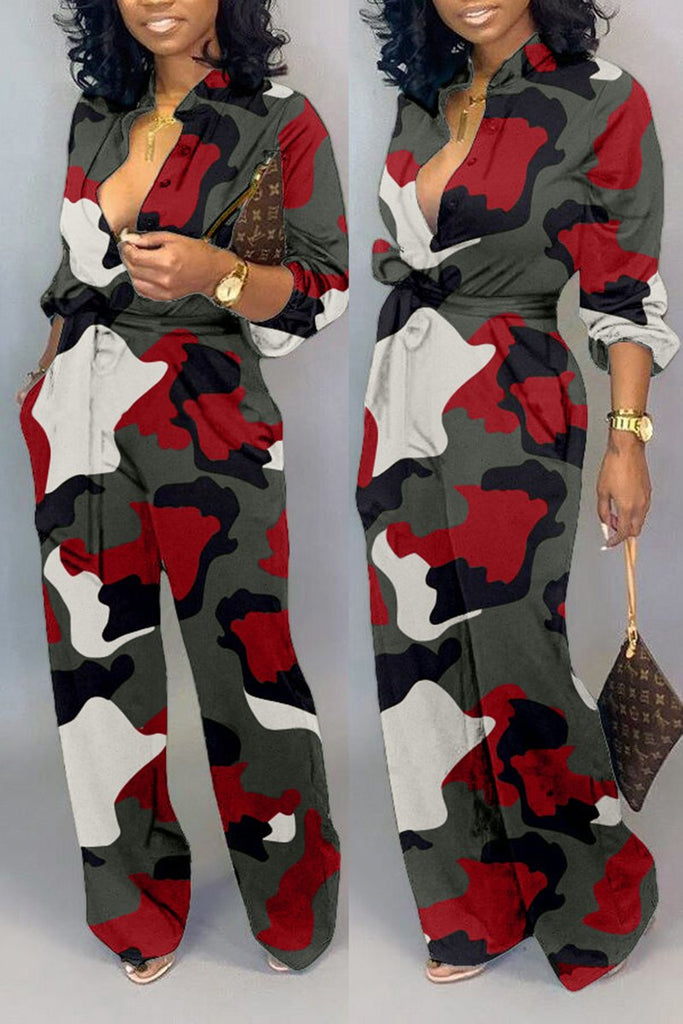 Plus Size Camouflage Print Belted Jumpsuit